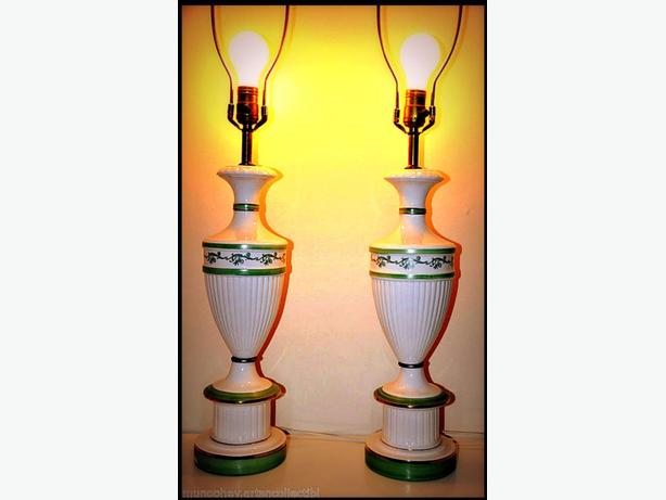 SELLING A PAIR OF WONDERFUL OLD LAMPS WITH BEAUTIFUL GOLD TRIM