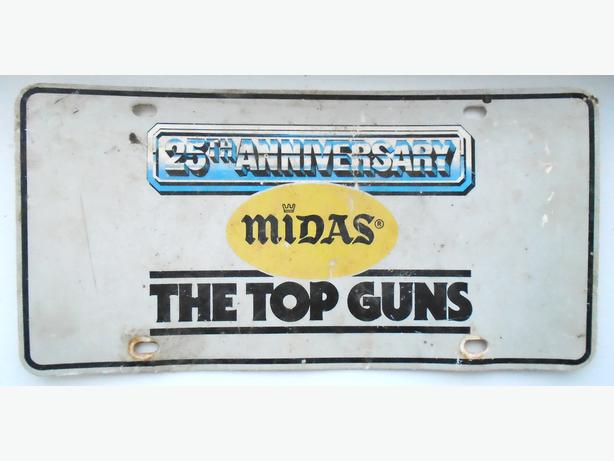 Vintage 1981 MIDAS MUFFLERS 25th Annivers. Plastic License Plate