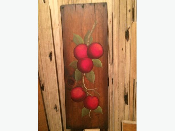 Country style wooden wall hanging / painting of red apples