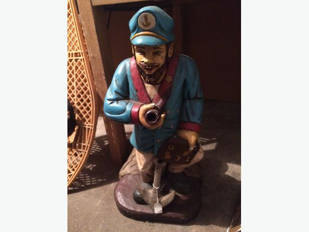 Wood carving of Sailor Captain Nautical