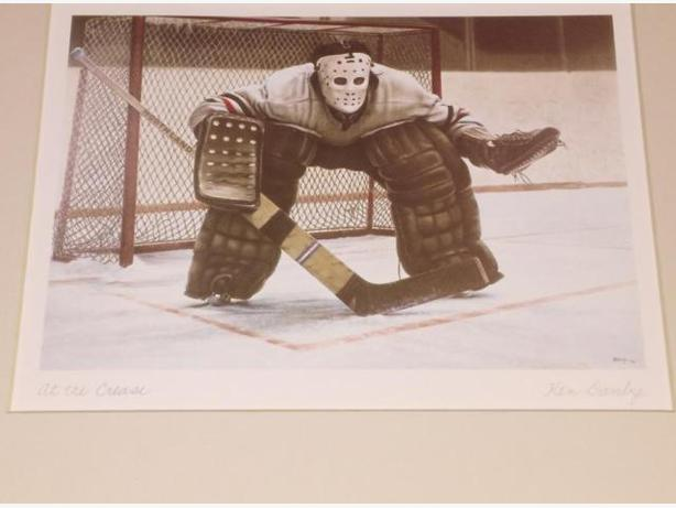 At The Crease Matted Signed Print By Ken Danby