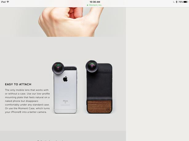 "NEW ""MOMENT"" wide lens IPhone 6 lens PLUS adaptable case"