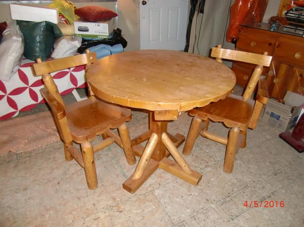 LOG TABLE AND TWO CHAIRS