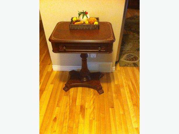 European style antique side table with a drawer