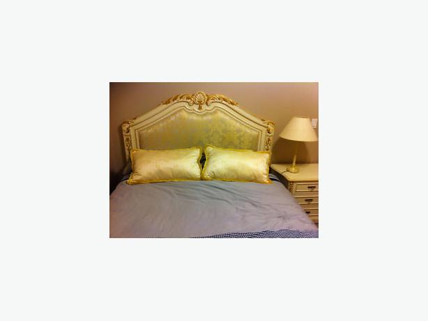 Headboard antique european style queen size. Matching night tables.