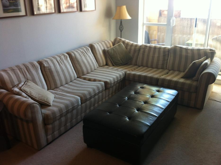 Striped Sectional Couch With Hide A Bed Victoria City Victoria