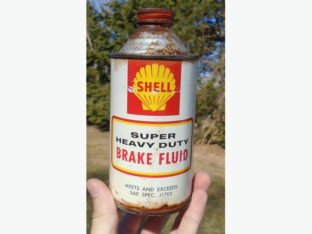 Vintage SHELL CANADA Super Heavy Duty Brake Fluid Cone Top Can