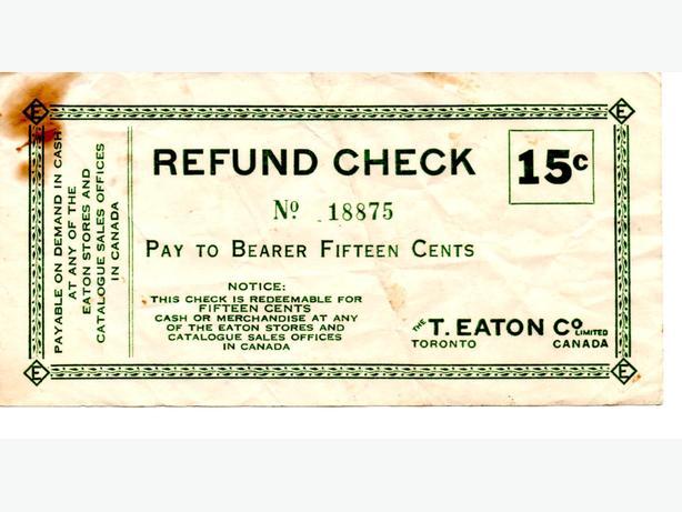 T Eaton refund Check