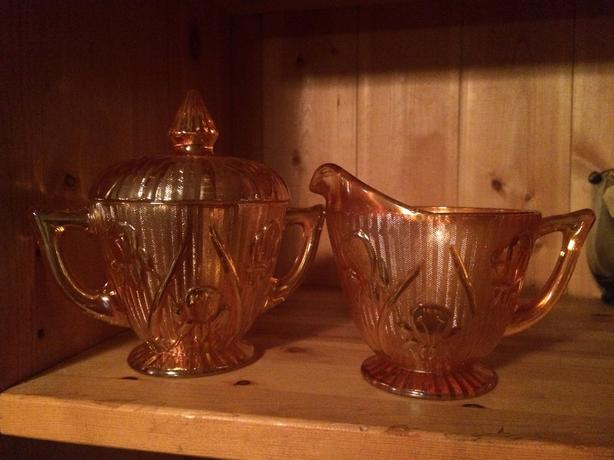 Orange glass creamer and sugar bowl vintage
