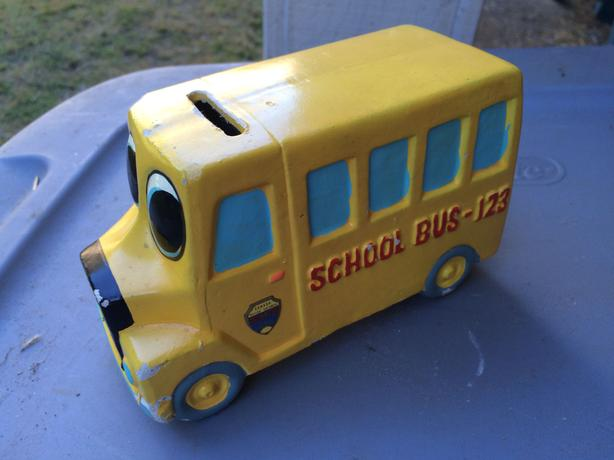 Vintage school bus piggy bank