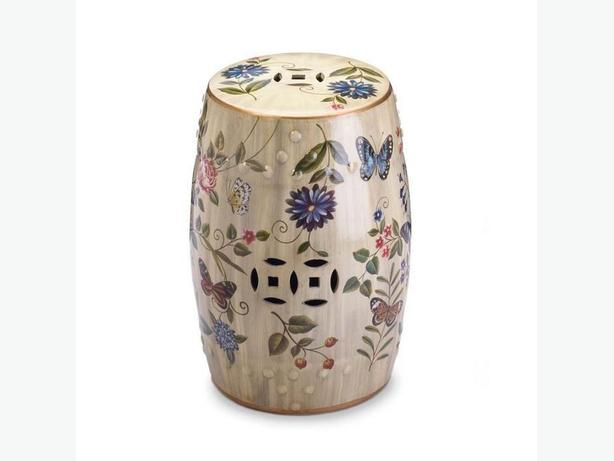 Vintage-Look Butterfly Motif Decorative Ceramic Stool Table Plant Stand New