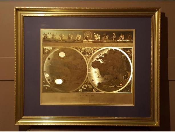 Framed Blaeu Wall Map of the Old and New World Gold Foil $75.