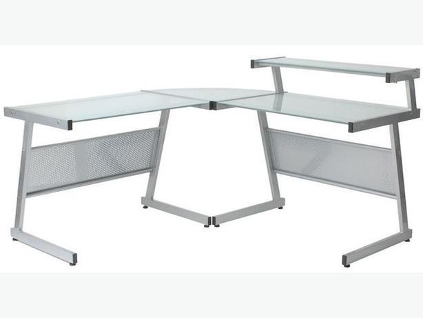 Eurostyle Landon L-Shape Glass Top Computer Desk $100.