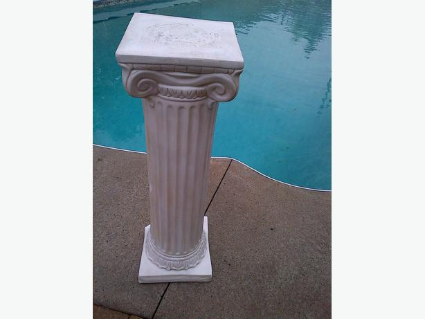 "DECORATIVE CERAMIC ROMAN TALL PILLAR STAND 39"" HIGH X 10"" BASE"