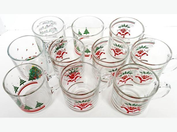 Vintage TEN Chrismas Cups  for Egg Nogg, Hot Coco or Coffee