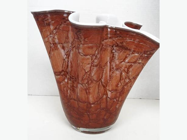 Hankerchief  VASE  Vintage Large and Heavy, Handblown  ALICJA