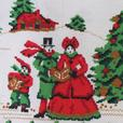 Vintage Christmas Tablecloth Faux Needlepoint Holiday Carolers