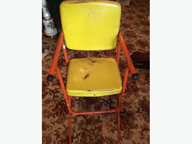 Vintage yellow and orange metal doll chair