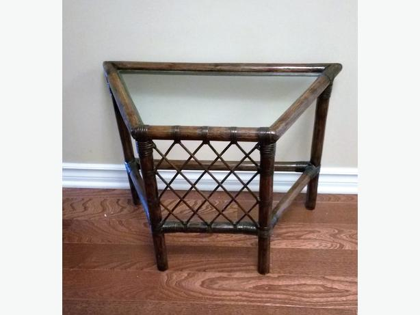 BAMBOO RATTAN GLASS TOP ACCENT TABLE