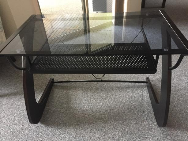 Glass & metal desk with keyboad drawer