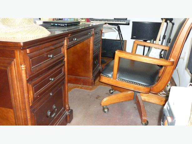 Executive desk and chairs