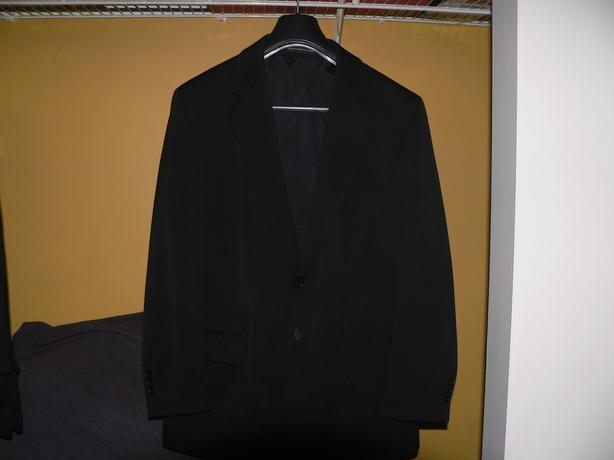 REDUCED to $50 Black Suit with accessories; plus Harris Tweed Jacket