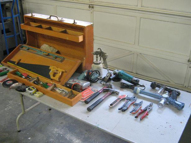 H.D. tool box & various tools