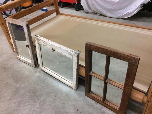 Rustic reclaimed window mirrors