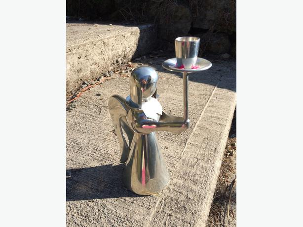 Pewter angel candle holder