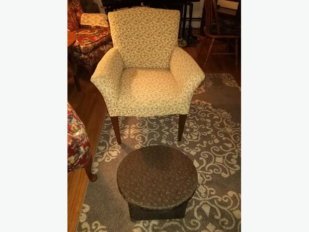ANTIQUE CHAIR AND FOOT STOOL