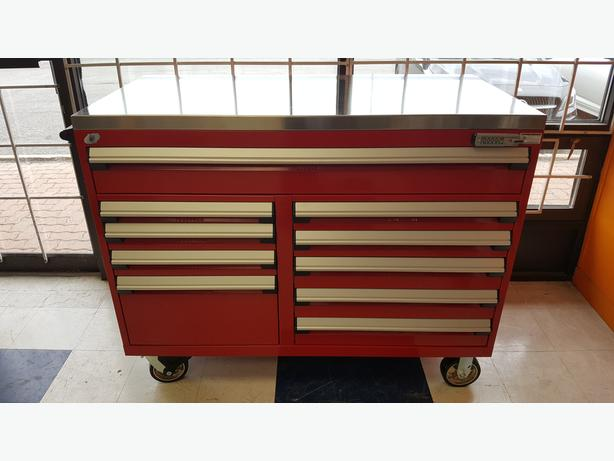 Heavy-Duty Rousseau Toolbox c/w stainless top and Mag casters