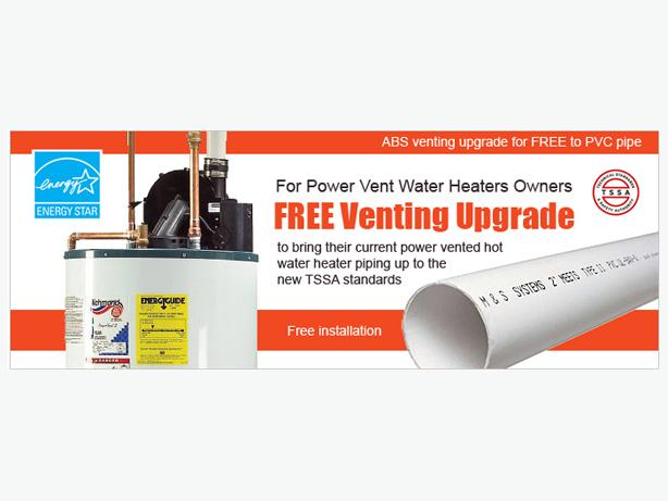 FREE Venting Upgrade for Rental Power Vented Water Heaters