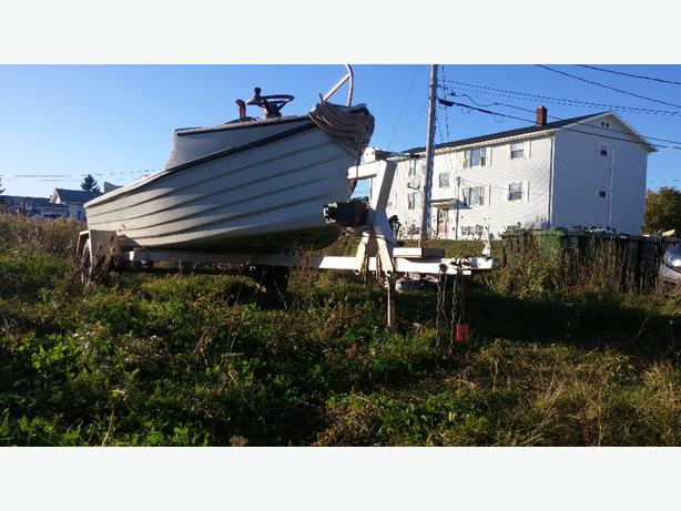 15' dory,motor,trailer,tongs