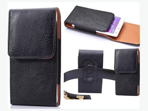 Vertical Holster Pouch Leather Case for Large Cell Phones 5.5 to 6 inch