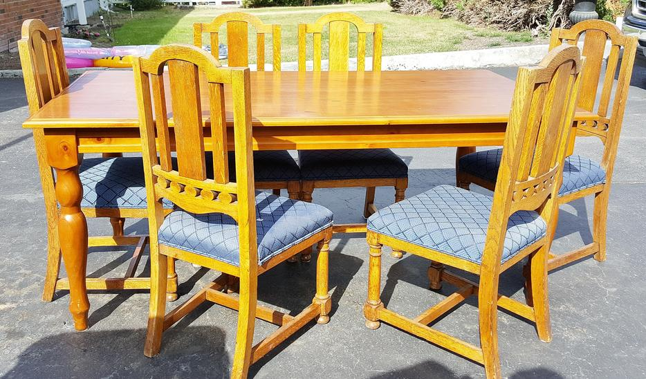 Dining table and six solid oak chairs cash or trade