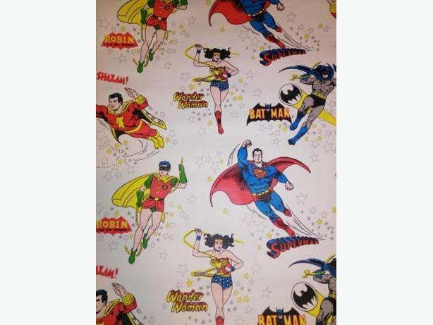 Rare! Roll Of Vintage Superhero Wall Paper - Batman - Superman