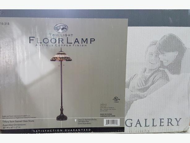 "NEW IN BOX TIFFANY STYLE 67.5"" COPPER FINISH FLOOR LAMP - TRADE"
