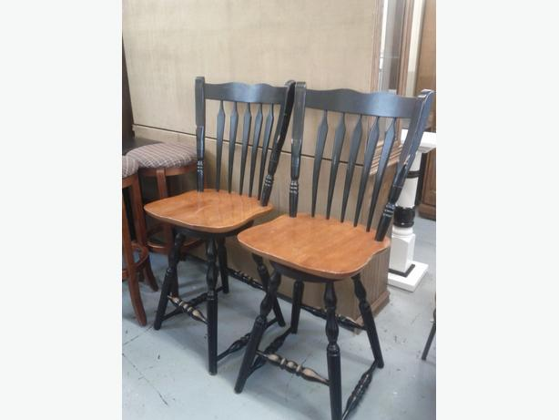 Pair of Wood Swivel Stools