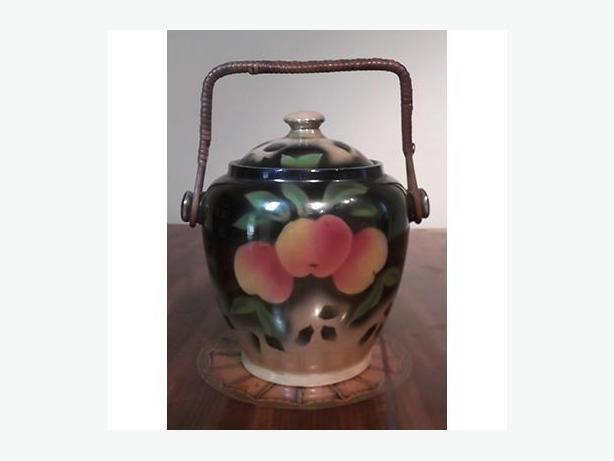 Vintage Lustreware with Peaches Biscuit Barrel