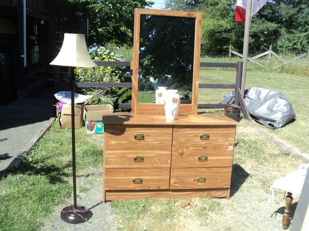 Nice 6 drawer dresser with mirror $ 50,  and  A long wall mirror  $20