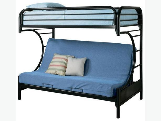 Brand new C-shaped metal black single/futon bunk bed sale !!!