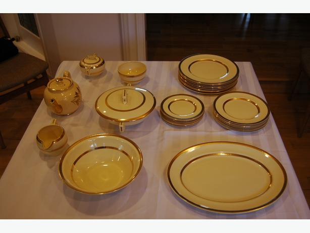 Johnson Bros Dinnerware circa 1915.  Ivory and Gold