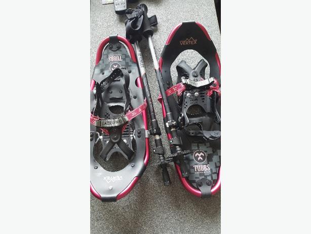 pink tubbs snowshoes and mckinley poles