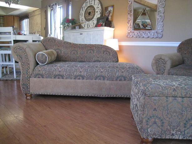 Chaise, couch and storage ottoman