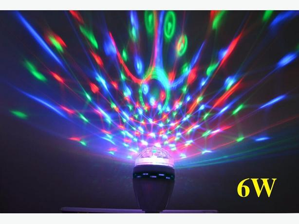 E27 6W Colorful Auto Rotate RGB LED Bulb Stage Light Party Lamp