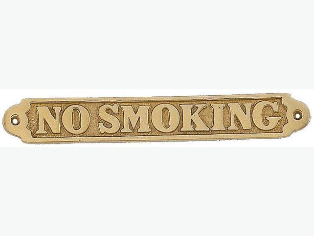 VINTAGE BRASS NO-SMOKING SIGN, with Screws Great Condition