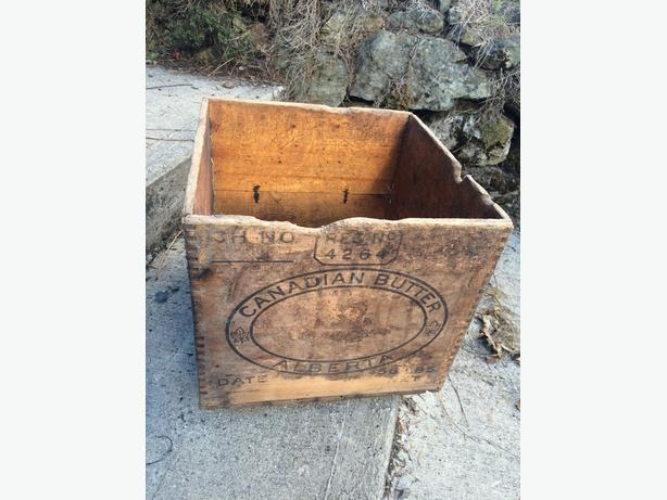 Antique Wooden Canadian Butter Alberta Crate Box