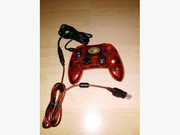 Orange Transparent Xbox Controller With Extension Cable