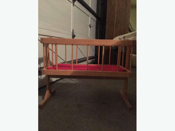 wooden doll cradle with mattress $12 obo