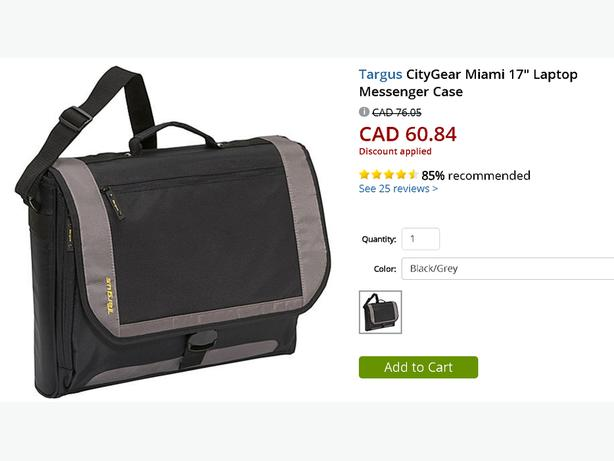 "Targus CityGear Miami 17"" Laptop Messenger Case"